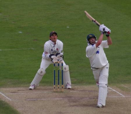 David Hussey en route to his 275 for Nottinghamshire