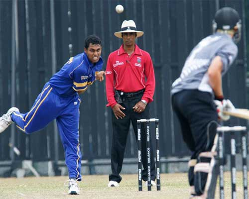 ARS Silva bowls against New Zealand