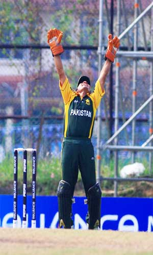 Ali Asad appeals for the wicket of Australian batsman Marcus Stoinis