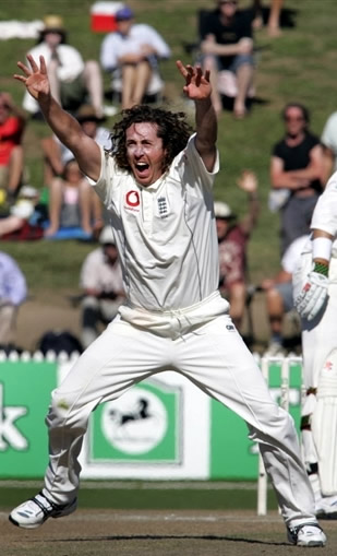 Ryan Sidebottom celebrates his hat-trick