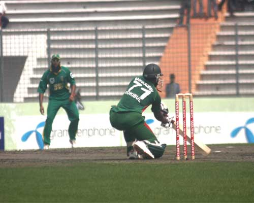Bangladesh batsman Raqibul Hasan cuts a ball in Second ODI at SBNS