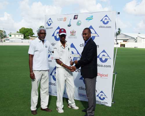 West Indies opening batsman Kraigg Brathwaite receiving the Man-of-the-Match