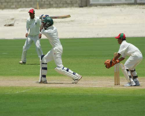 Derone Davis batting against Malaysia Under-15s