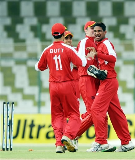 Nadeem Ahmed celebrates the wicket of Younis Khan