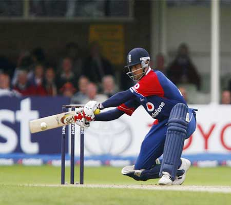 Owais Shah in action during a one day international for England