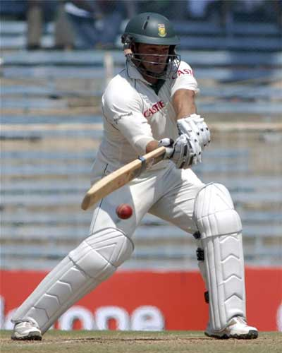 South Africa's Mark Boucher plays a shot against India