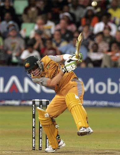 Brad Haddin avoids a rising delivery during their ICC World Twenty20