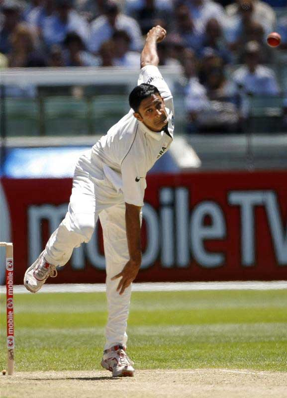 Anil Kumble bowls to Phil Jaques
