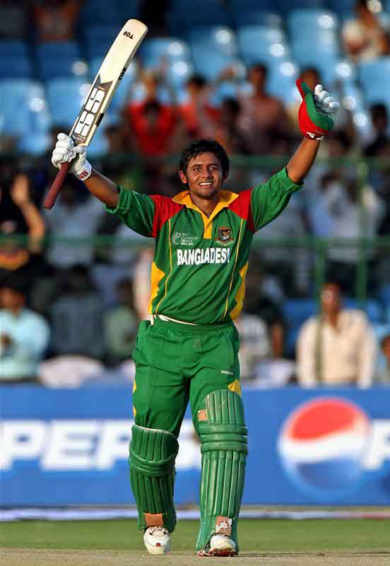 Shahriar Nafees celebrates after completing his century