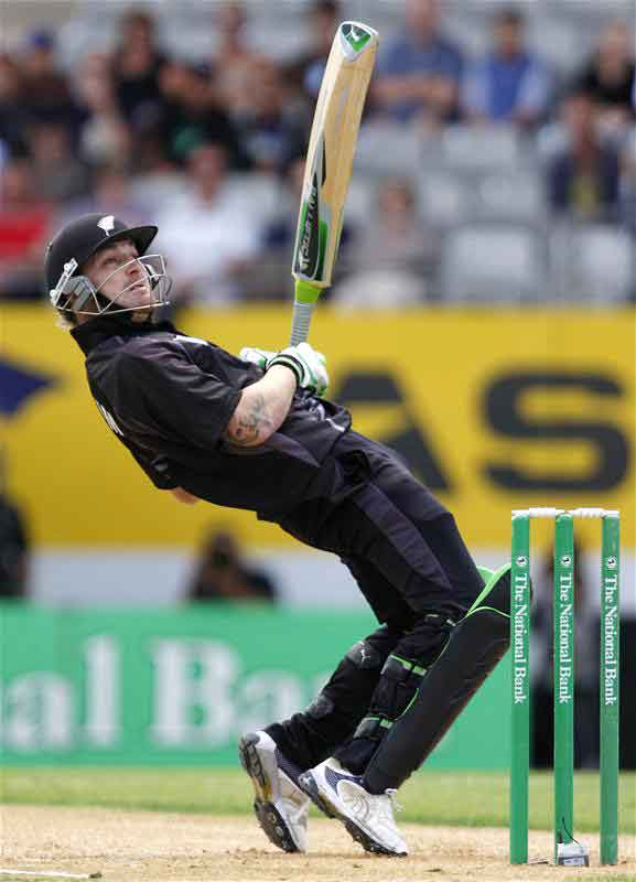 Brendon McCullum watches the shot