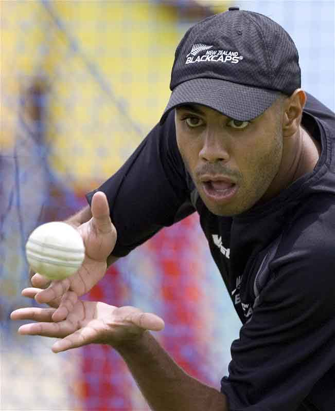 Jeetan Patel catches the ball during a World Cup cricket training session