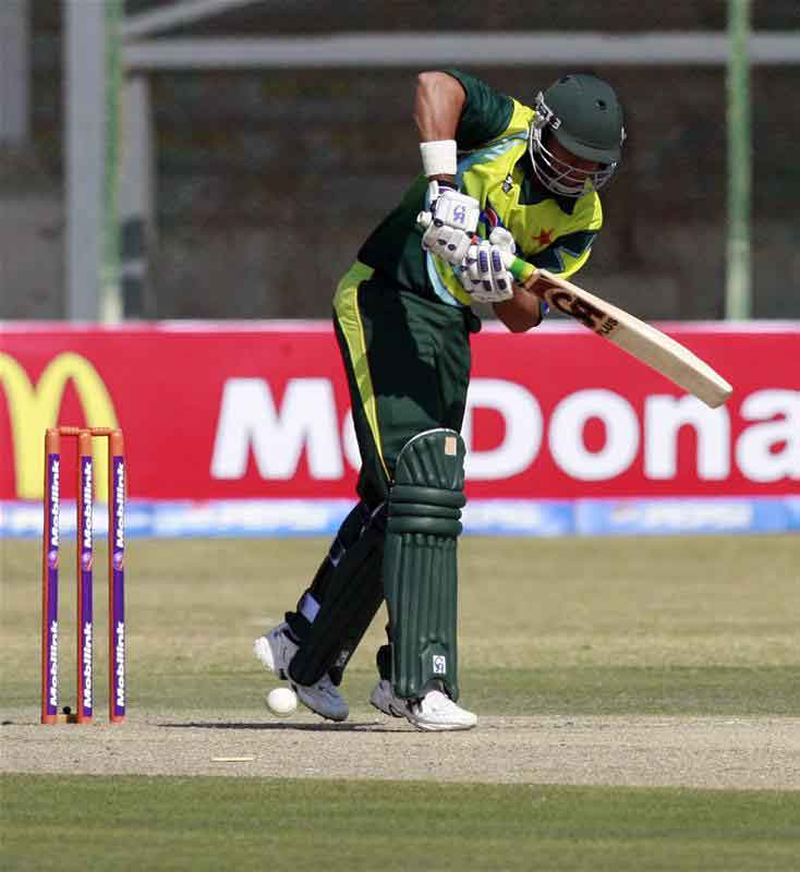 Nasir Jamshed plays a shot against Zimbabwe