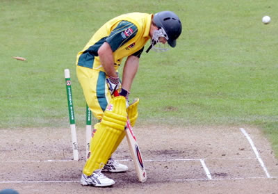 Simon Katich is bowled by Azhar Mahmood