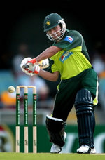 Kamran Akmal hits a four during his 124-run innings