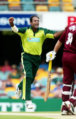 Naved-ul-Hasan celebrates getting Ricardo Powell caught behind for a duck