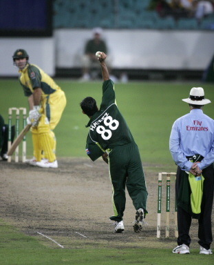 Michael Clarke faces Mohammad Hafeez during the day-night international