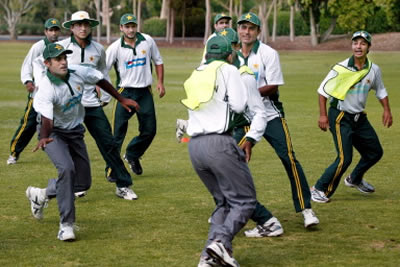 Pakistan players have some fun and training