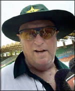 Bob Woolmer speaking at Gaddafi Stadium