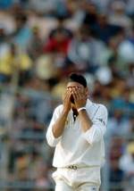 Harbhajan Singh reacts during the second day