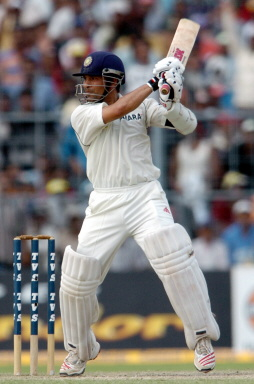 Sachin Tendulkar eyes the ball during the third day