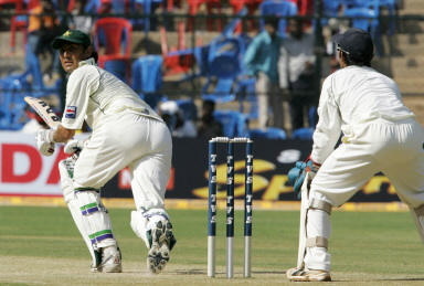 Younis Khan turns a ball to leg for a boundary