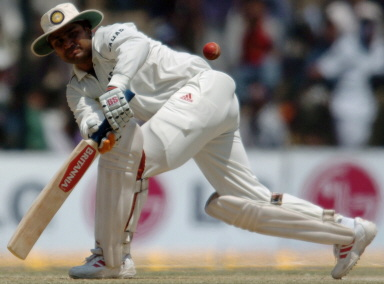 Virender Sehwag hits a four to leg