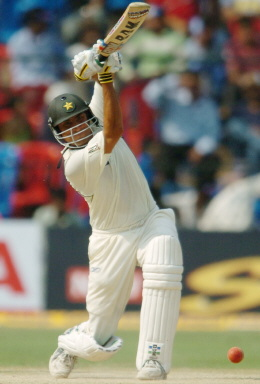 Younis Khan plays a shot during the fourth day