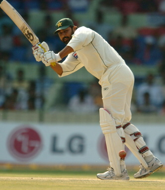 Inzamam plays a shot during the fourth day