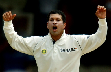 Sachin Tendulkar reacts to a delivery
