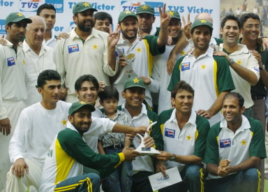 Members of the Pakistan cricket team after their victory over India