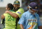 Naved-ul-Hasan is hugged by Inzamam-ul-Haq