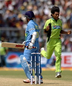 Sachin Tendulkar reacts after he was dismissed by Mohammad Sami