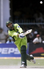 Shahid Afridi hits a six on his way to 102 off 46 balls