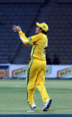Umar Gul takes a catch