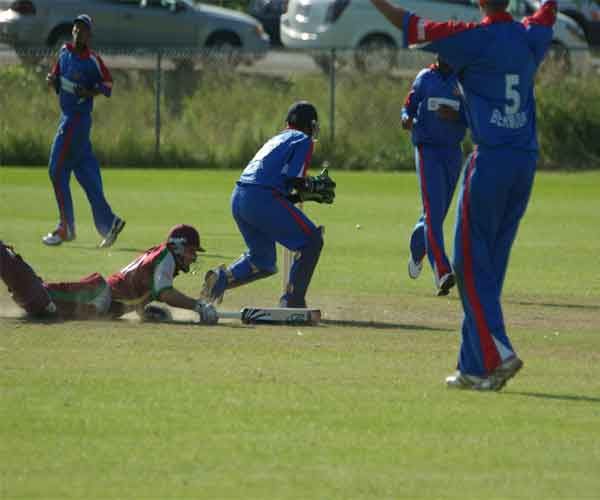 Brendon Nash successfully dived for the crease to avoid being run out