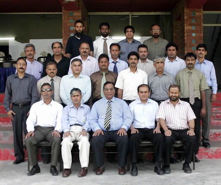 PCB GM Umpires Khizer Hayat with the participants of match referees course held at LCCA Ground Lahore