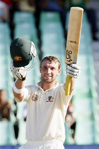Phillip Hughes celebrates his century in 2nd Test