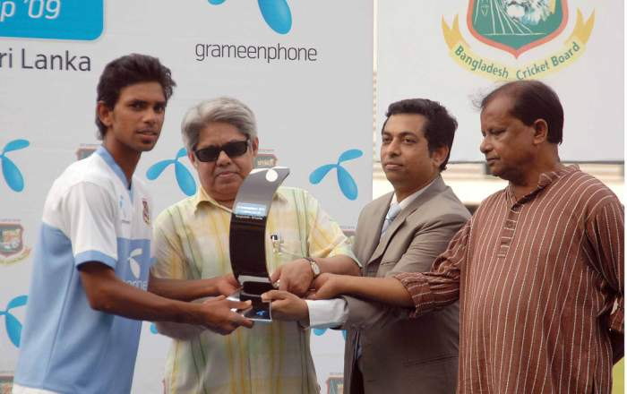 Marshal Ayub receiving the Champion trophy from Mr. Shakil Kashem