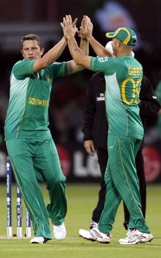 van der Merwe celebrates the wicket of Taylor