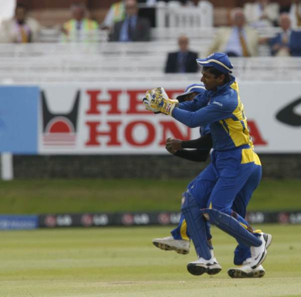 Sangakkara pouches a catch