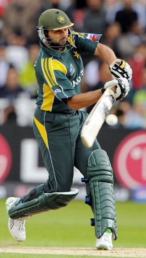 Afridi plays a shot