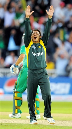 Saeed Ajmal celebrates the wicket of Kallis