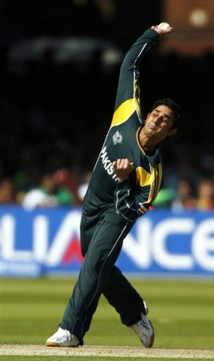 Saeed Ajmal about to deliver a ball