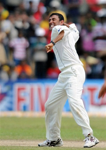Younis celebrates the wicket of Herath