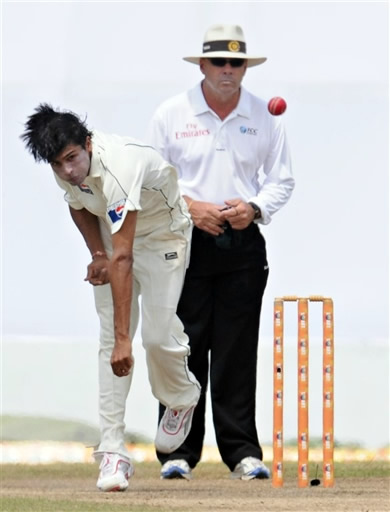 Mohammad Aamer delivers a ball
