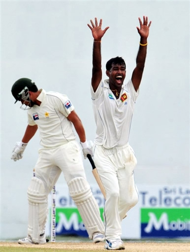 Kulasekara appeals for lbw against Kamran Akmal