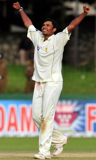 Danish Kaneria celebrates the wicket of Dilshan