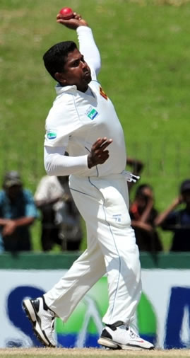 Herath about to deliver a ball