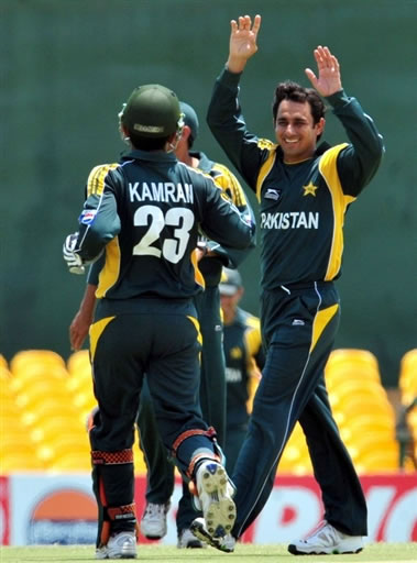 Saeed Ajmal celebrates the wicket of Sangakkara