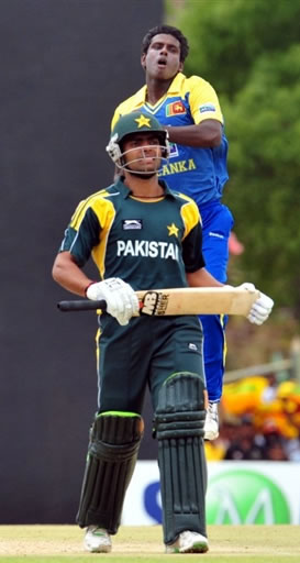 Mathews celebrates the wicket of Umar AKmal